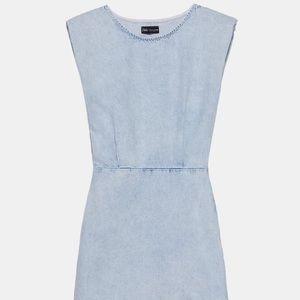Zara light blue shoulder pad denim dress